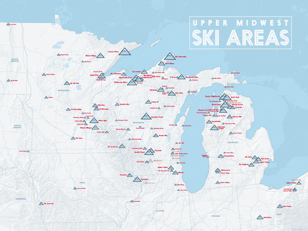 Upper Midwest Ski Resorts Map Poster - White & Light Blue
