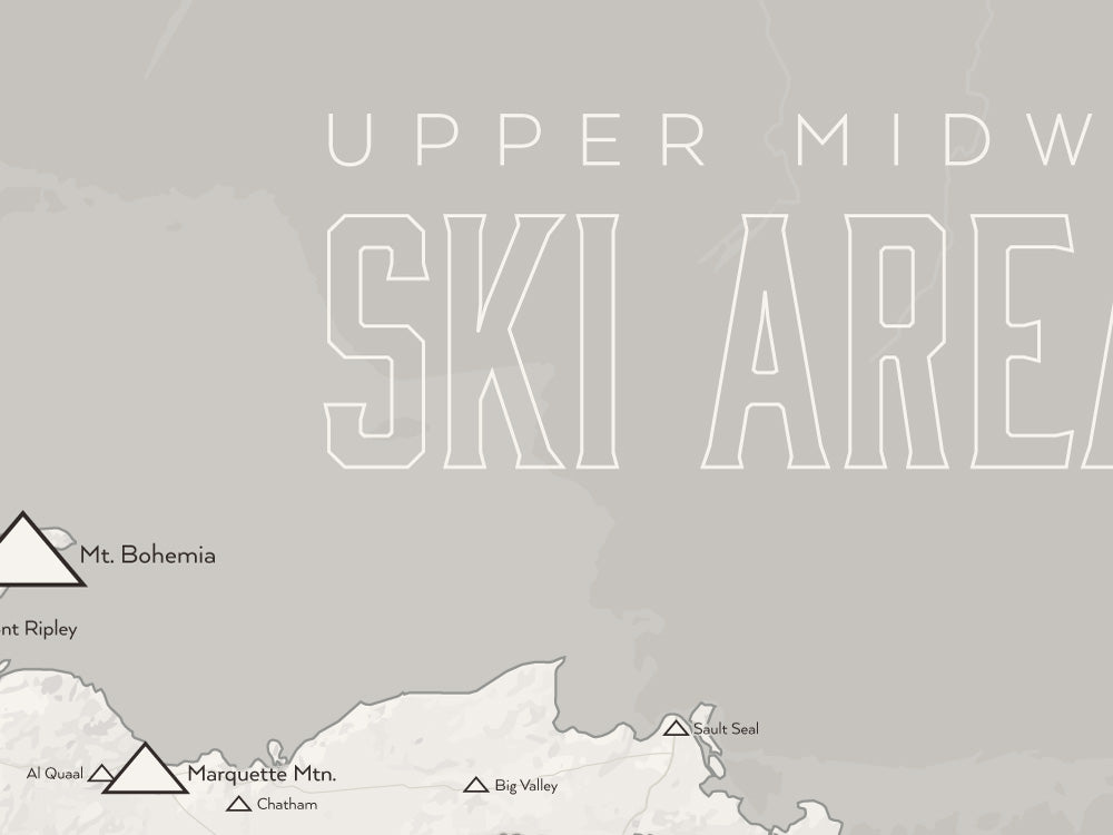 Upper Midwest Ski Resorts Map Poster - White & Gray