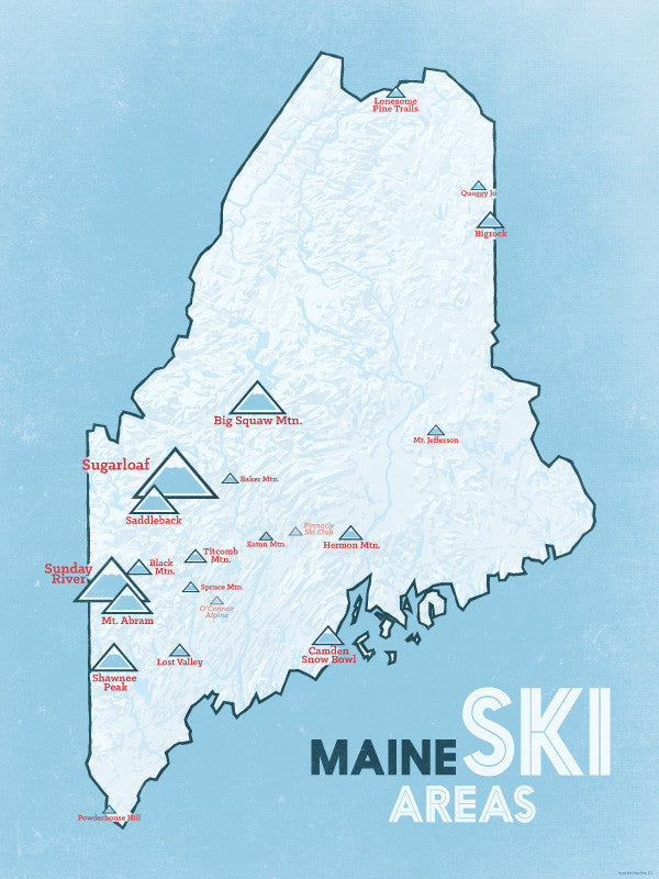 Maine Ski Resorts map poster - beige & opal blue