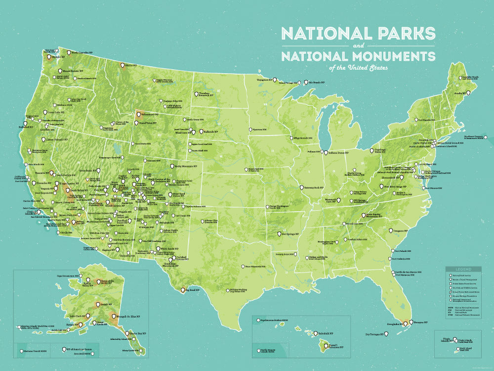 USA National Parks & National Monuments Map Poster - green & aqua