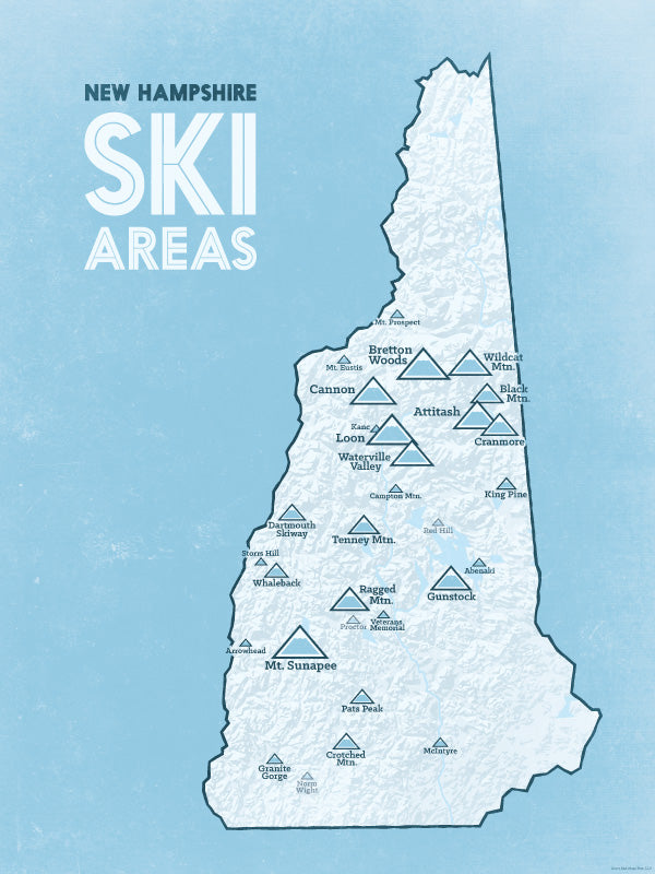 New Hampshire Ski Resorts Map Poster - White & Light Blue