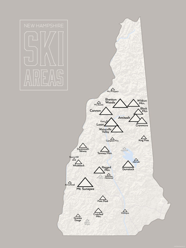 New Hampshire Ski Resorts Map Poster - White & Gray