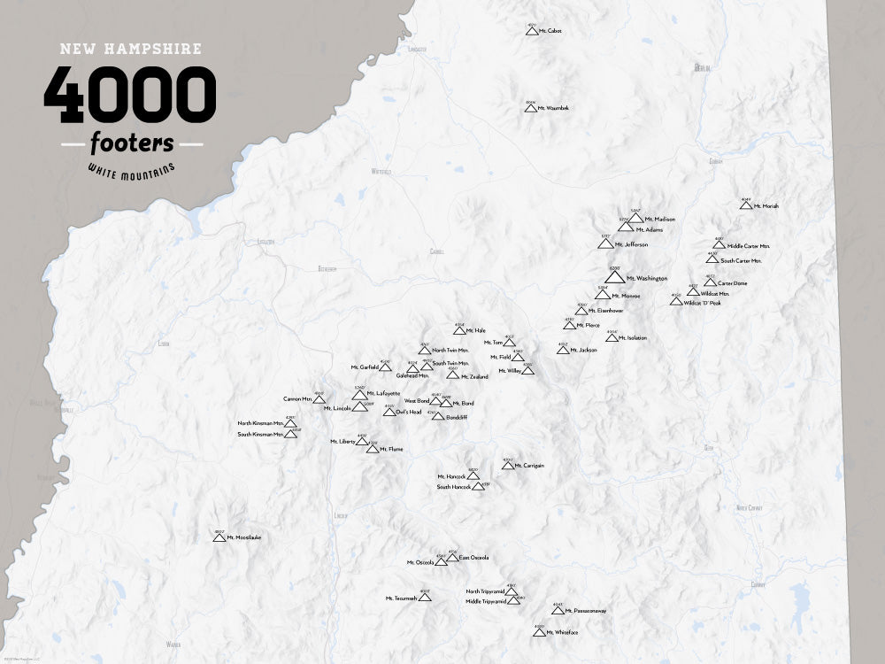 New Hampshire 4000 Footers Map Poster - White & Gray