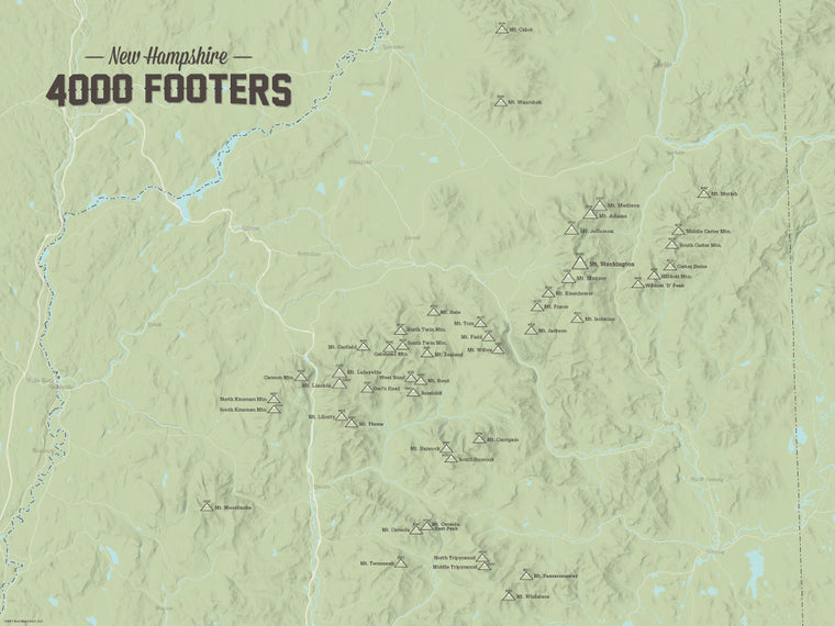 New Hampshire 4000 Footers Map Poster - Sage