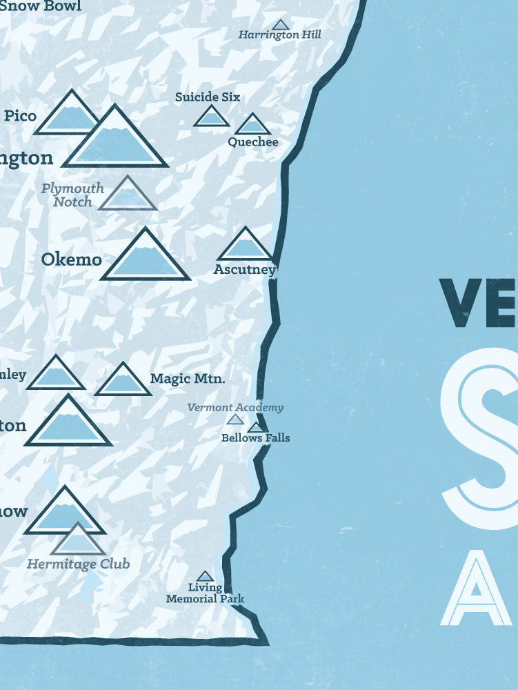 Vermont Ski Areas Resorts Map Poster - white & light blue