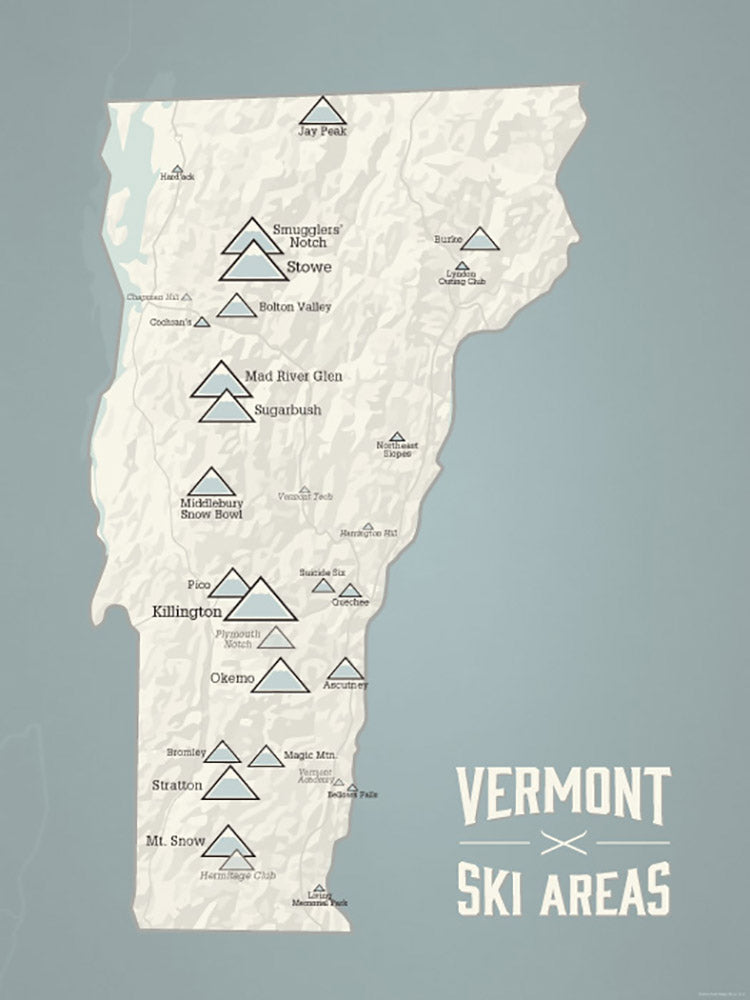 Vermont Ski Areas Resorts Map Poster - beige & slate