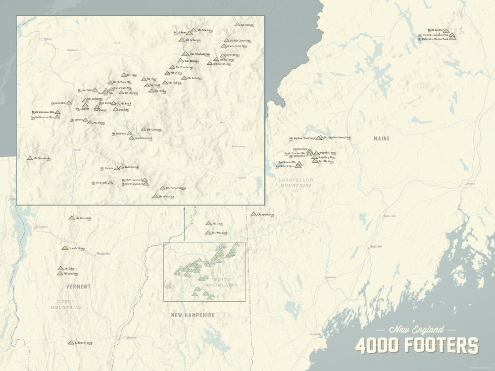 New England 4000 Footers Map Poster - Beige & Slate