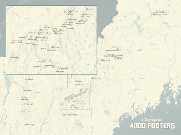 New England 4000 Footers Map 18x24 Poster