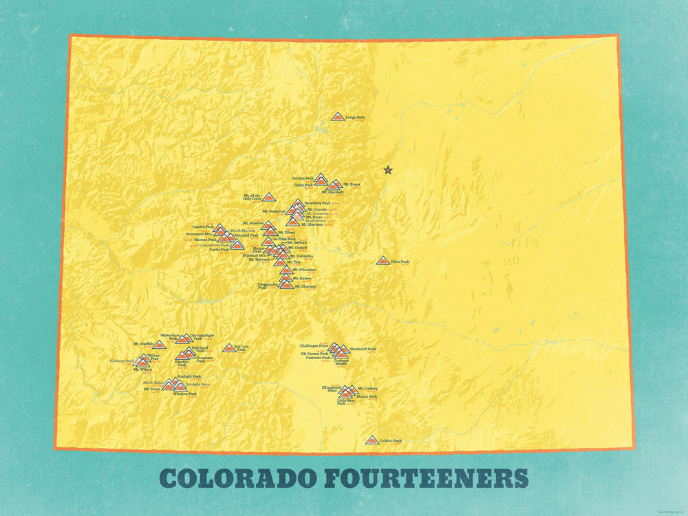 Colorado 14ers Map Poster - Marigold & Turquoise