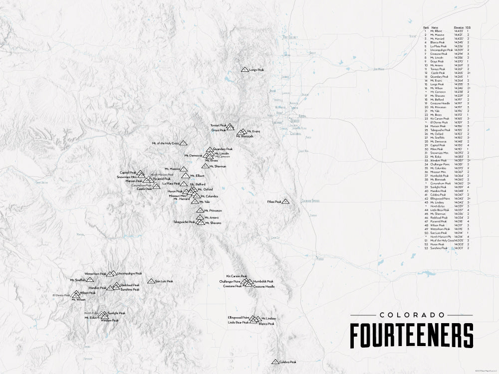 Colorado 14ers Map Poster - gray