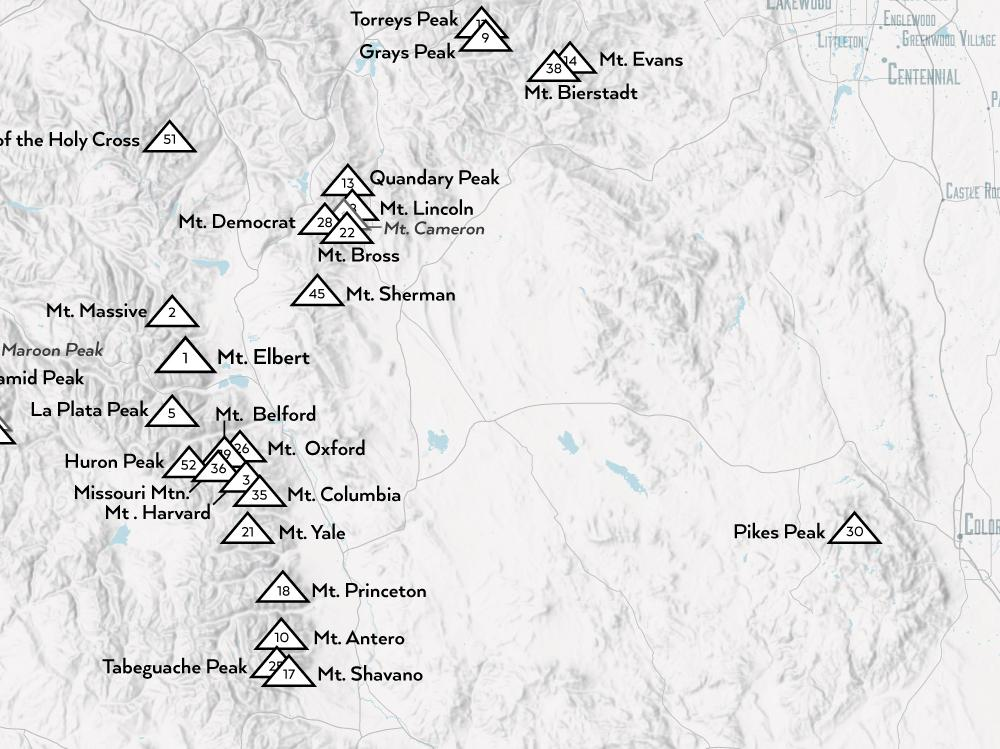 Colorado 14ers Fourteeners Checklist Map Poster - gray