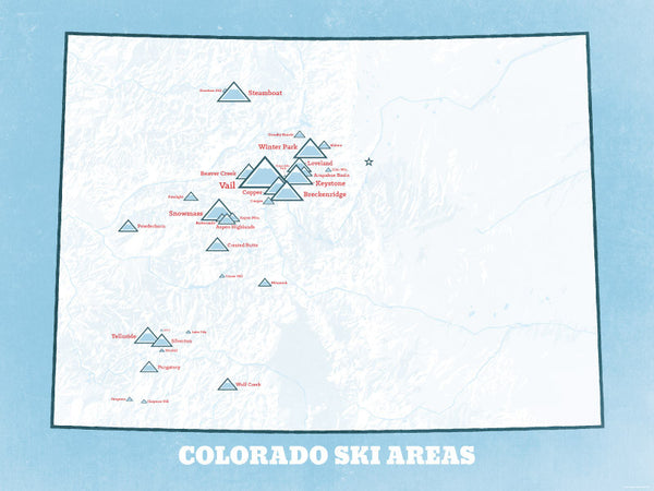 Colorado Ski Resorts Map Poster - white & light blue