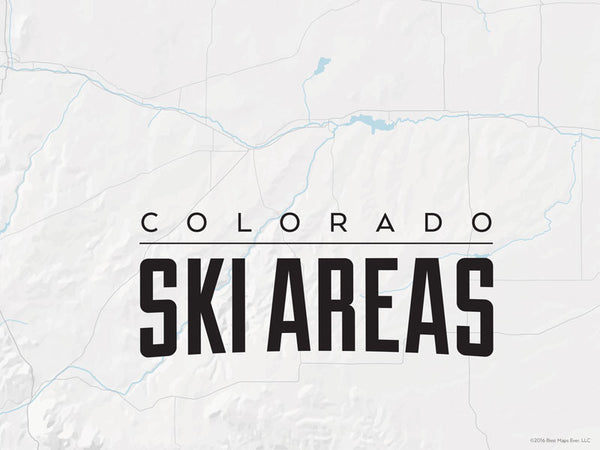 Colorado Ski Resorts Map Poster - light gray