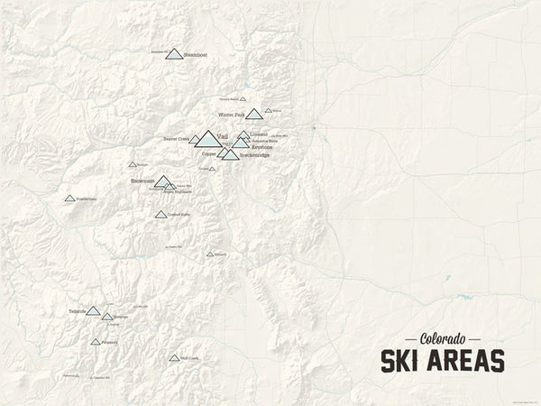 Colorado Ski Resorts Map Poster - beige