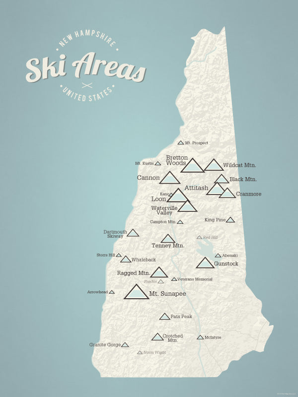 New Hampshire Ski Resorts Map Poster - Beige & Opal Blue
