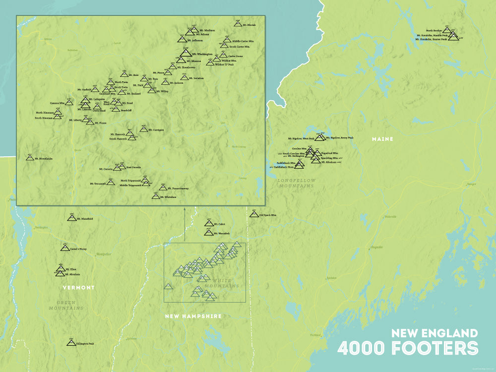 New England 4000 Footers Map Poster - green & aqua