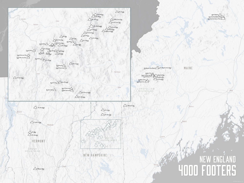 New england 4000 footers map 18x24 poster best maps ever new england 4000 footers map poster white gray publicscrutiny Choice Image