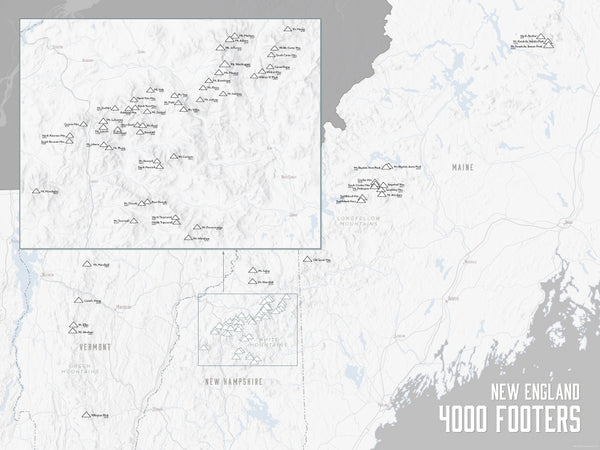 New England 4000 Footers Map Poster - white & gray