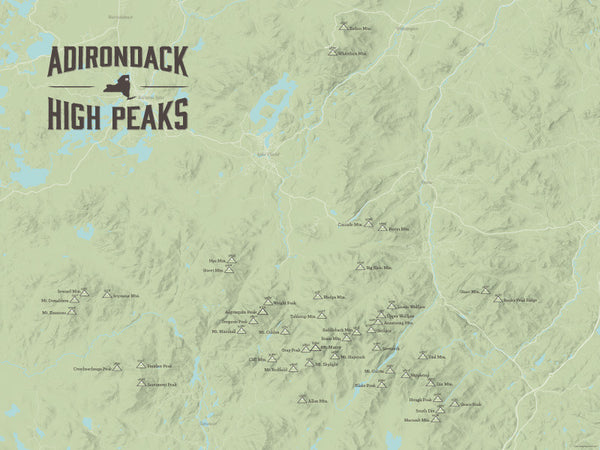 Adirondack High Peaks map poster - Sage