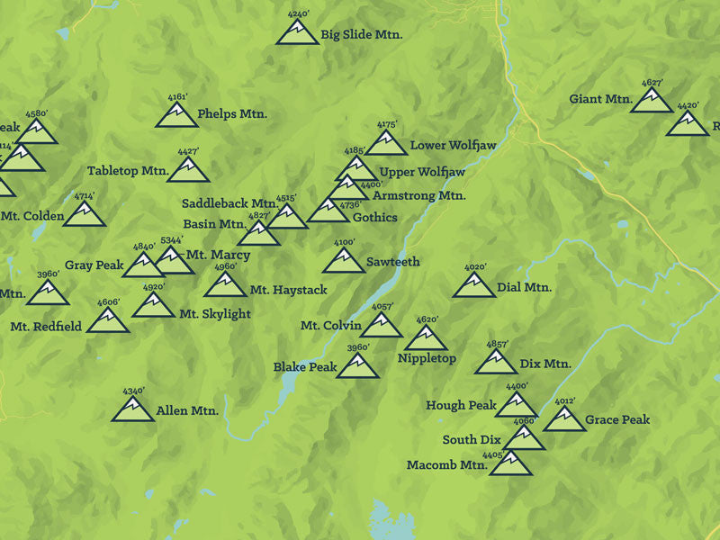 Adirondack High Peaks 46ers Map Poster - Bright Green