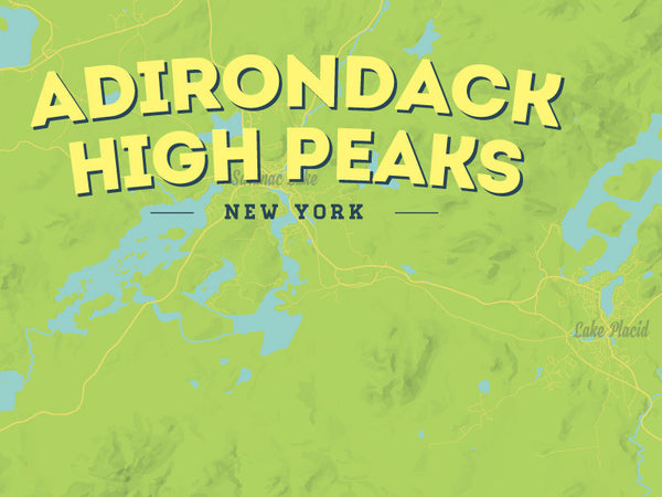 Adirondack High Peaks map poster - Bright Green