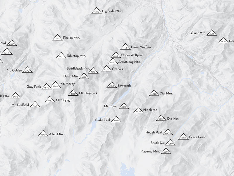 Adirondack High Peaks 46ers Map Poster - Gray