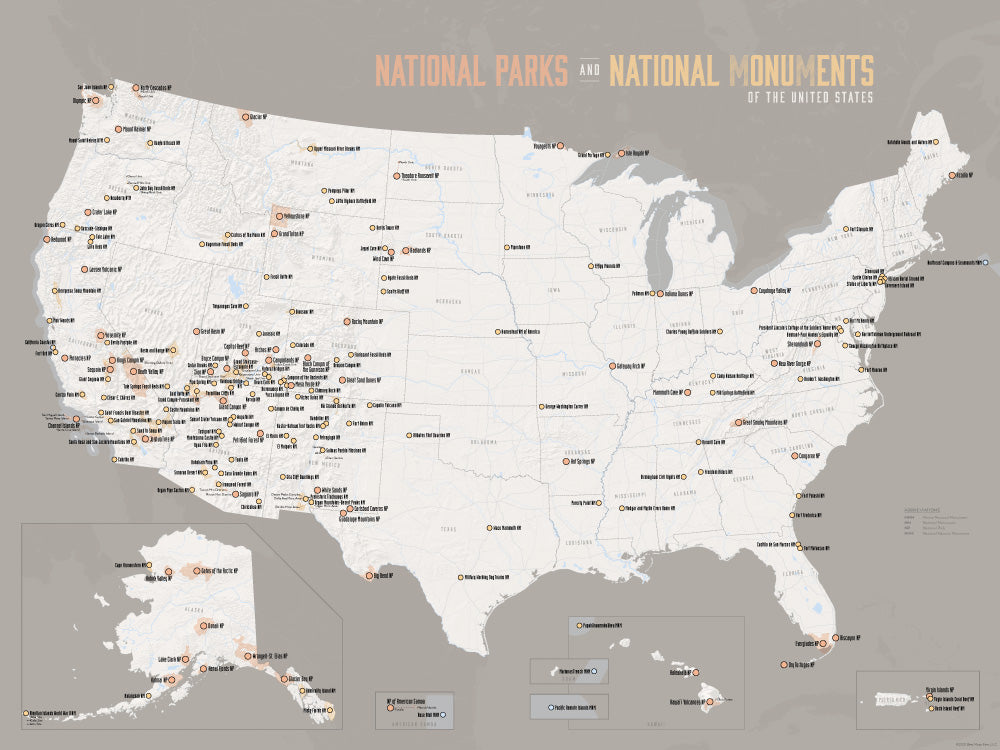 USA National Parks & National Monuments Map Poster - white & gray