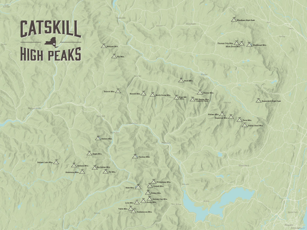 Catskill High Peaks map poster - Sage