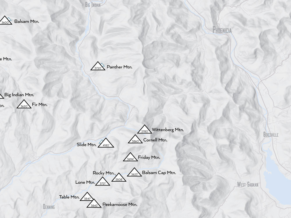 Catskill High Peaks map poster - gray