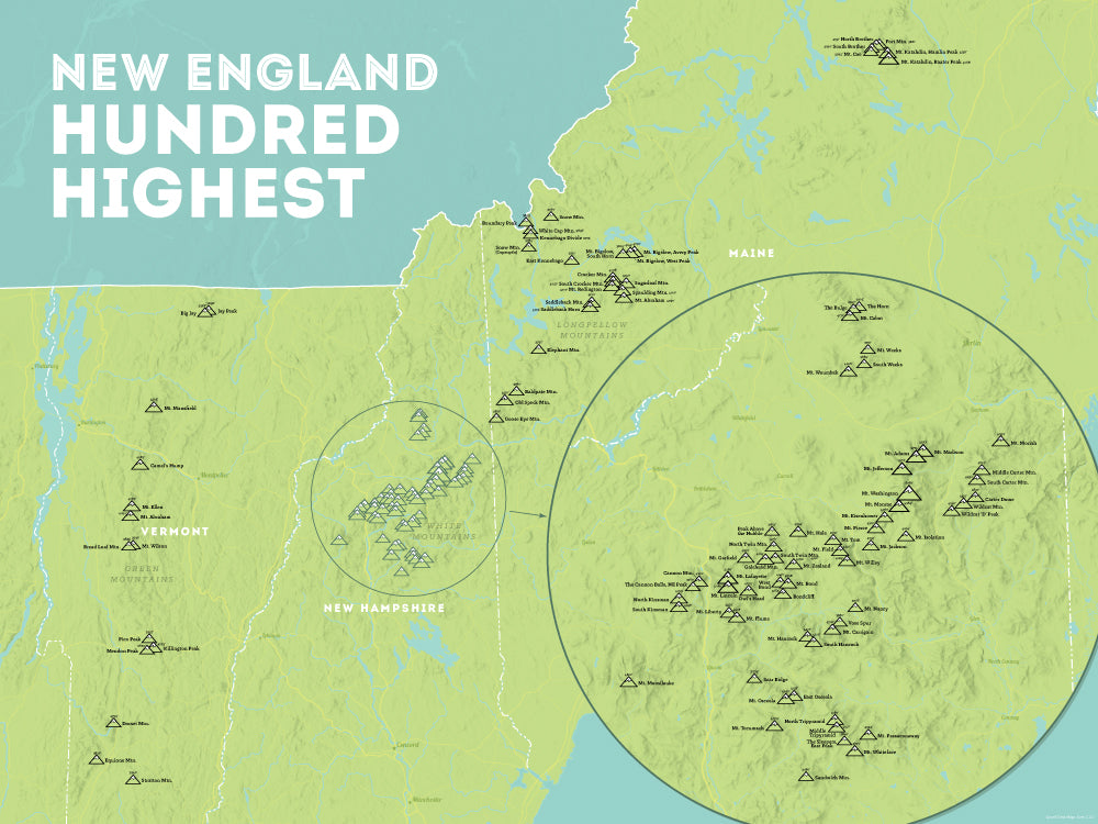 New England Hundred Highest map poster - Green & Aqua
