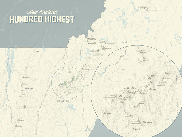 New England Hundred Highest Map Poster - Beige & Slate