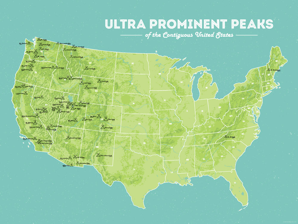 Ultra Prominent Peaks Map Poster - Green & Aqua