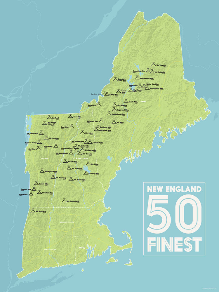 New England Fifty Finest Map Poster - green & aqua