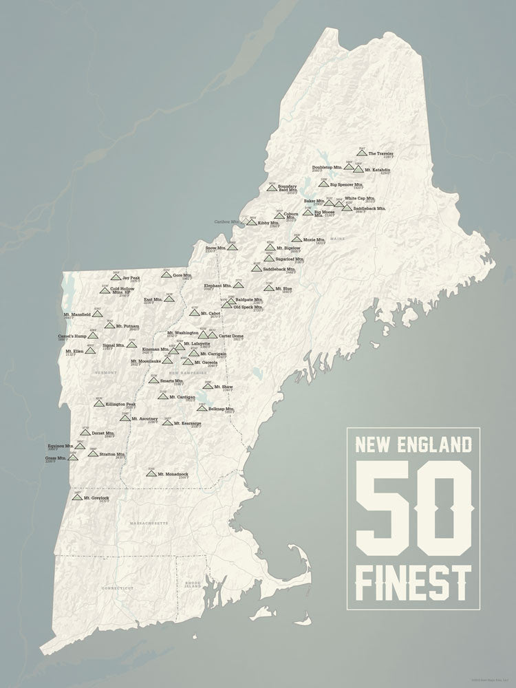 New England Fifty Finest Map Poster - beige & slate