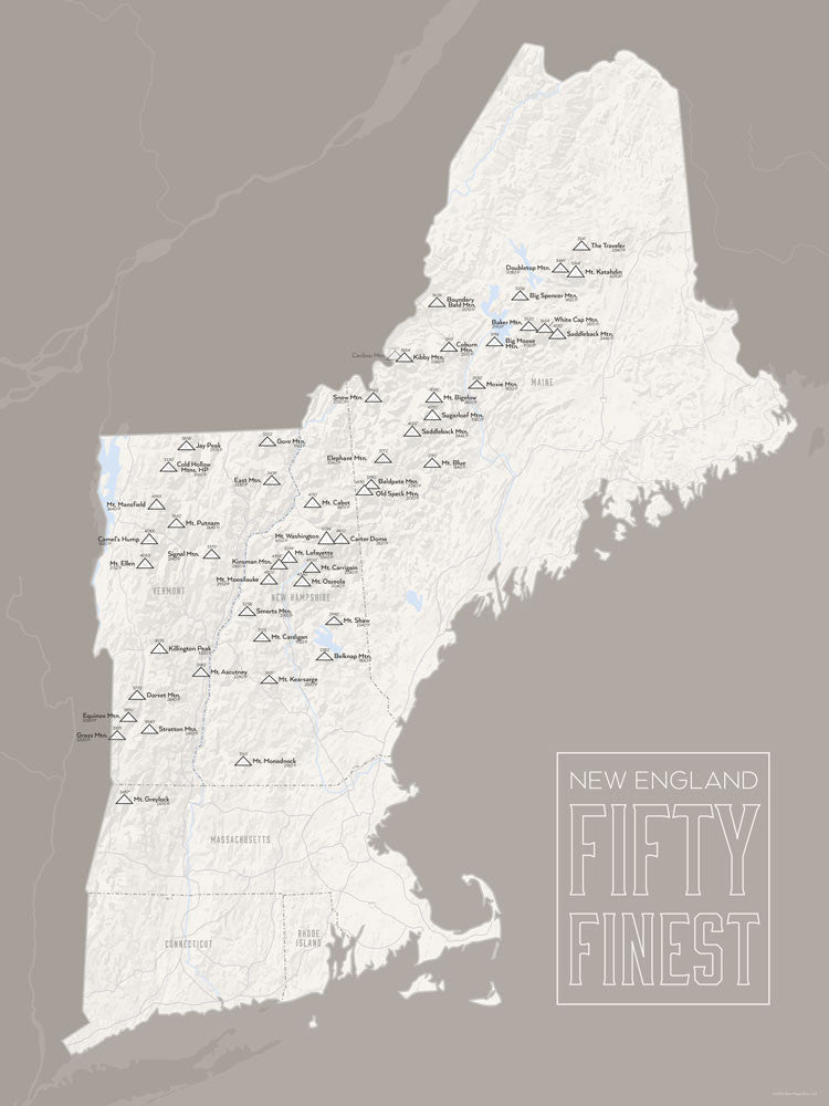 New England Fifty Finest Map Poster - white & gray