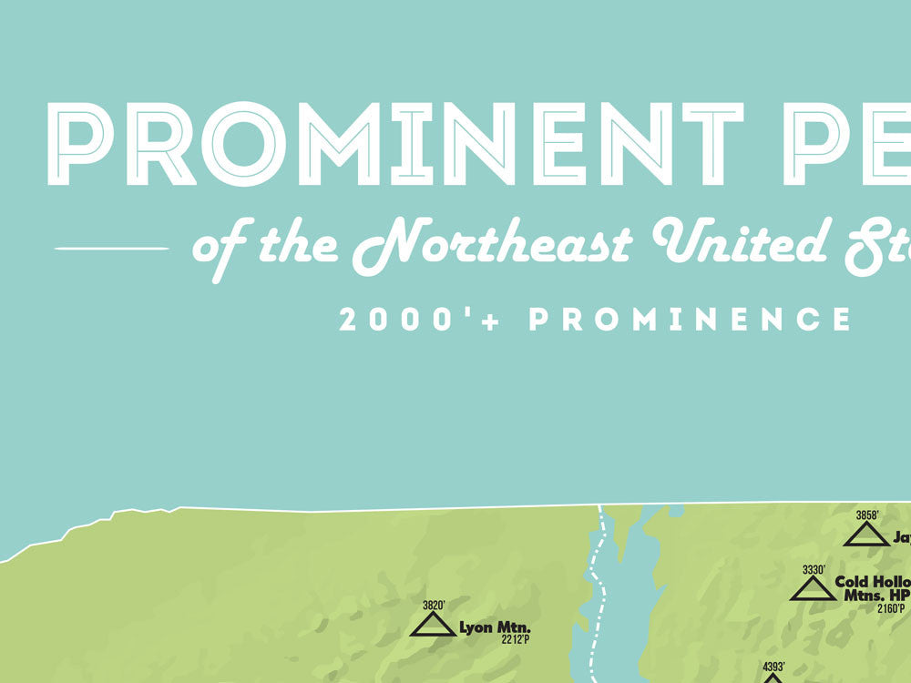 Northeast USA Prominent Peaks Map Poster - Green & Aqua