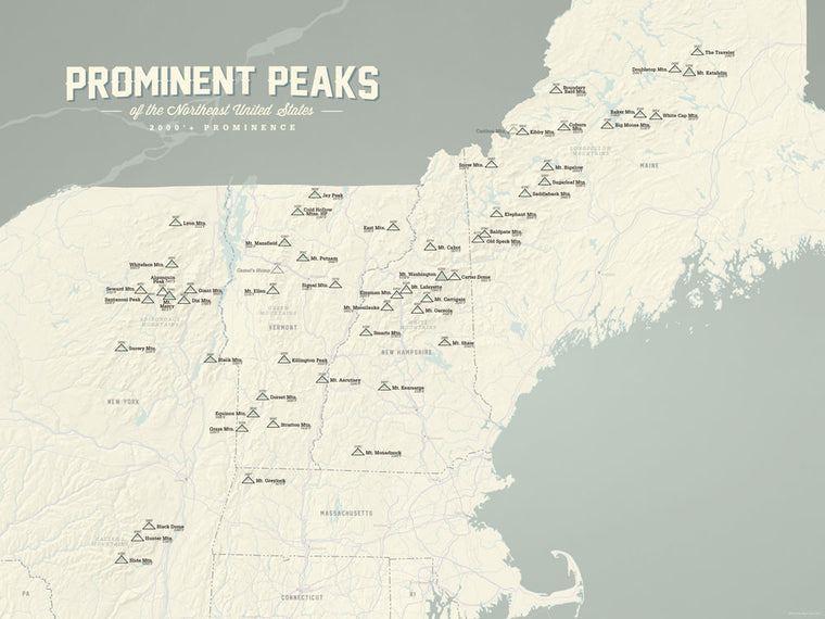 Northeast USA Prominent Peaks Map Poster - Beige & Slate