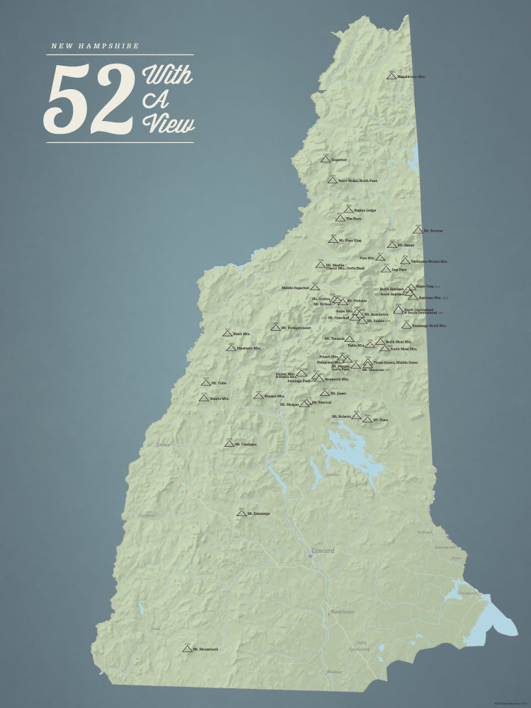New Hampshire '52 With A View' Map Checklist Poster - sage & slate blue