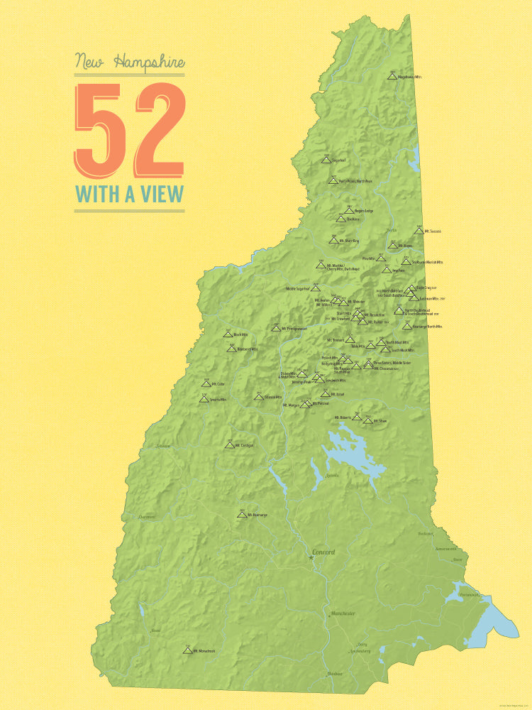 New Hampshire '52 With A View' Map Checklist Poster - green & yellow