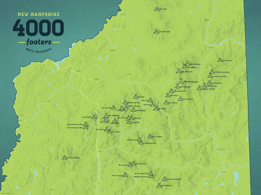 4000 Footers Nh Map New Hampshire 4000 Footers Map 18x24 Poster   Best Maps Ever