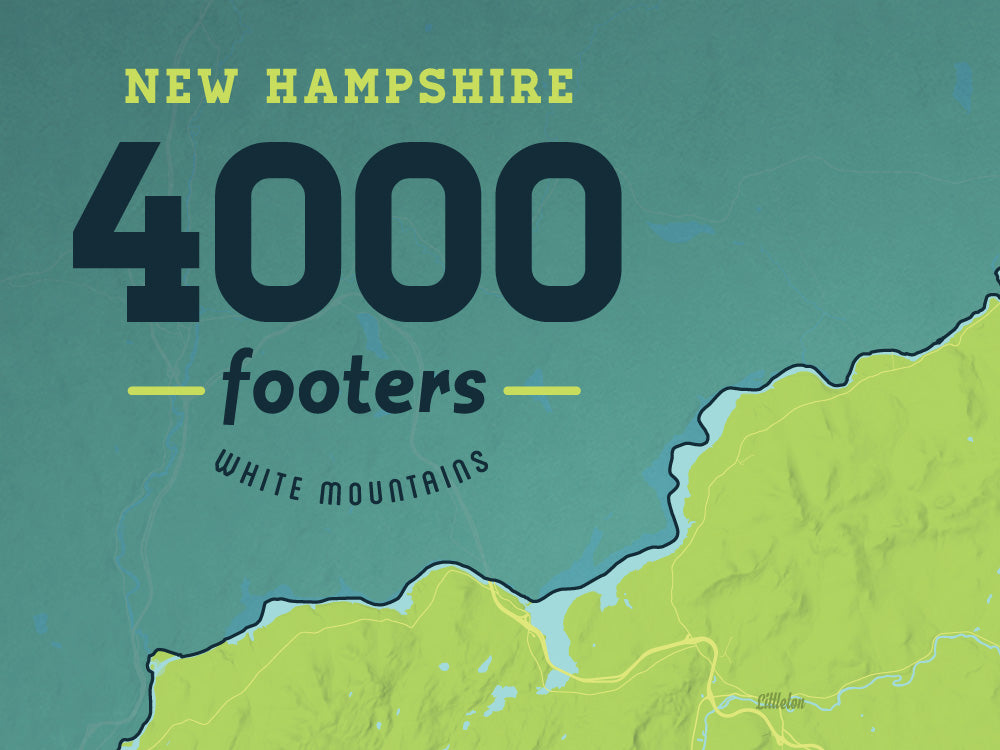 New Hampshire White Mountains 4000 Footers Map Poster - green & teal