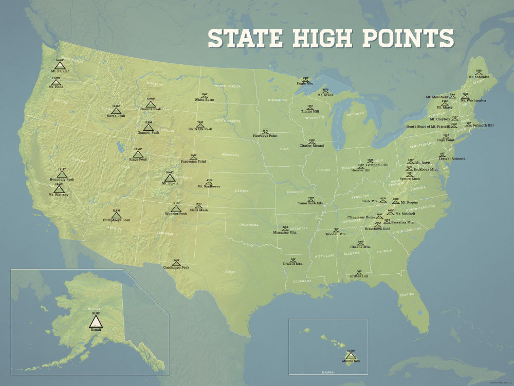 State High Points Highpoints Map Poster - natural earth