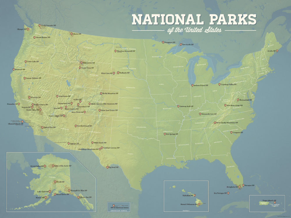 US National Parks Map 18x24 Poster - Best Maps Ever