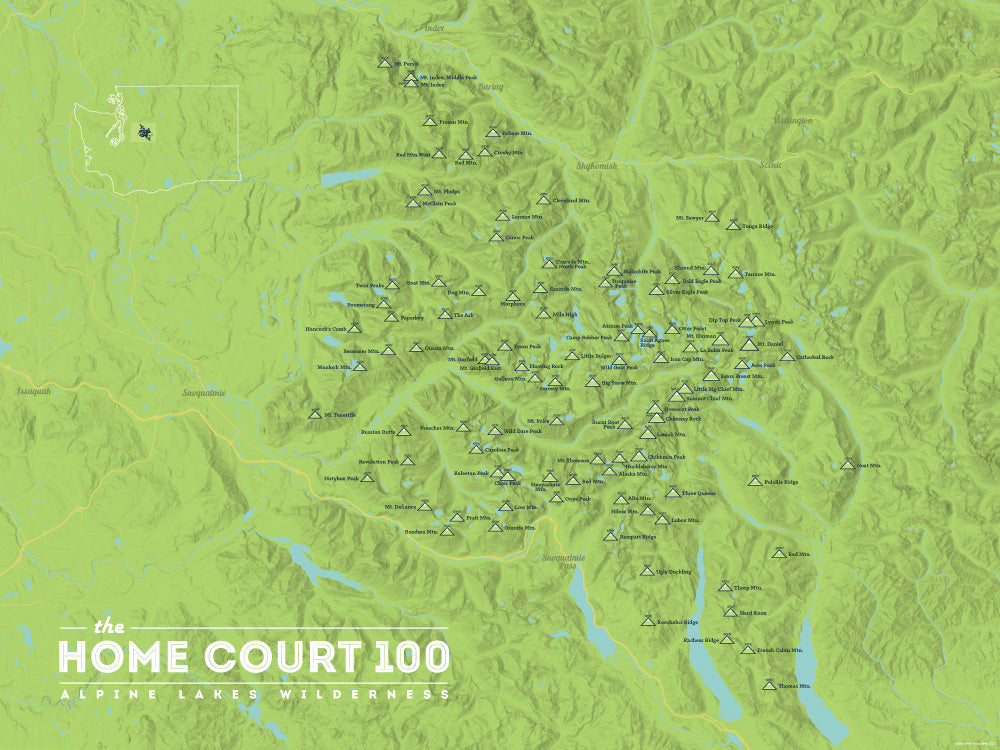 Alpine Lakes Home Court 100 Map Poster - bright green
