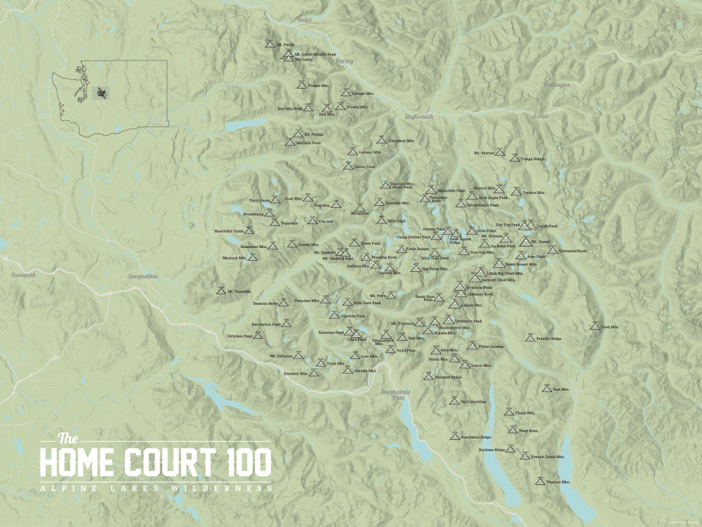 Alpine Lakes Home Court 100 Map Poster - sage