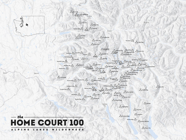 Alpine Lakes Home Court 100 Map Poster - gray
