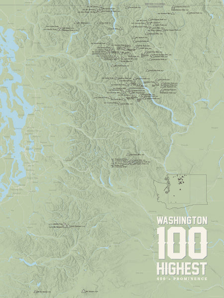 Washington Hundred Highest Peaks map poster - sage