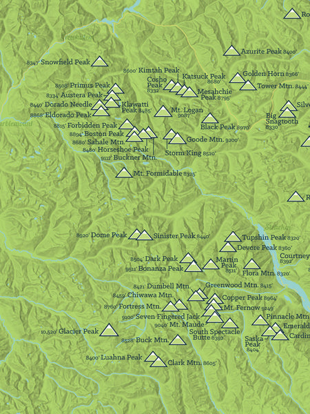 Washington Bulger List map poster - bright green