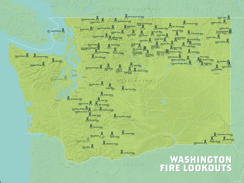 Washington Fire Lookouts map poster- green & aqua