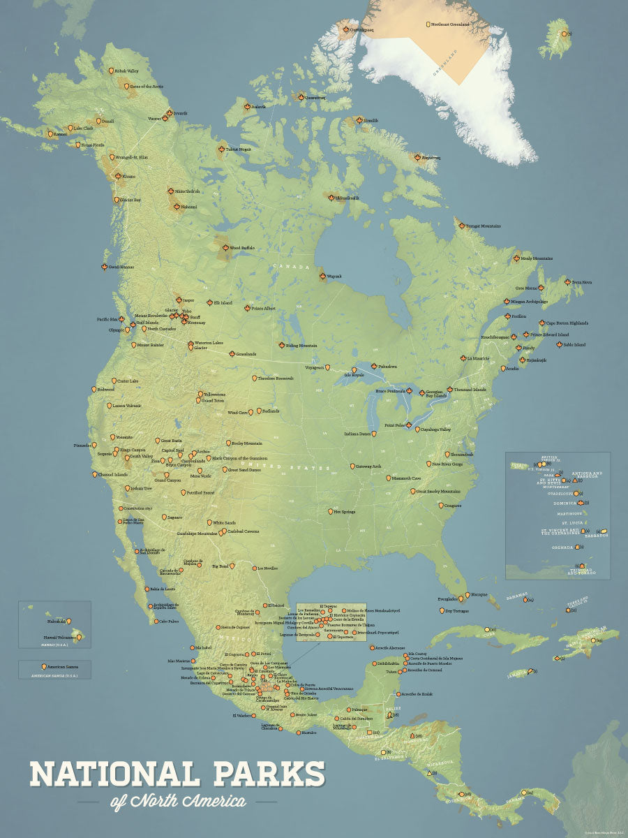 North America National Parks Map 18x24 Poster